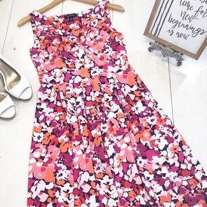 LANDS END pink floral sleeveless dress XS